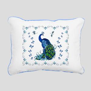 Blue Peacock Bedding Line Rectangular Canvas Pillo
