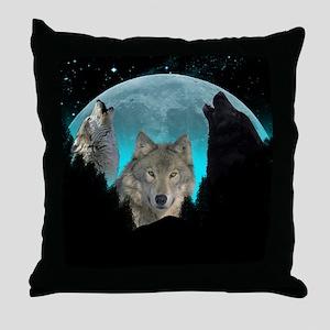 Wolves Twilight Harvest Moon Throw Pillow