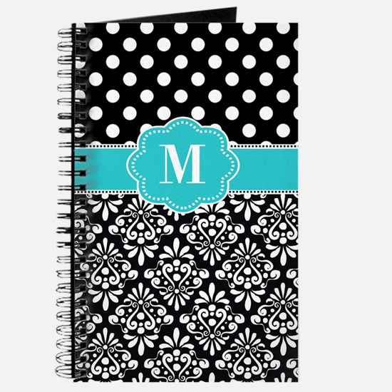 Teal Black Damask Dots Personalized Journal