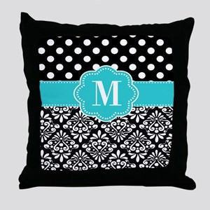 Teal Black Damask Dots Personalized Throw Pillow