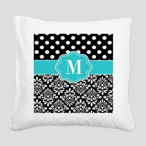 Teal Black Damask Dots Personalized Square Canvas