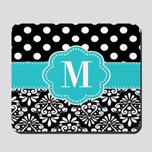 Teal Black Damask Dots Personalized Mousepad