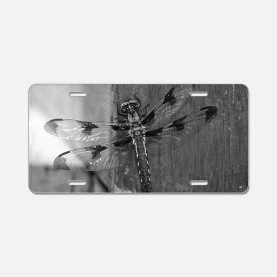 Dragonfly Black & White Aluminum License Plate