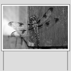 Dragonfly Black & White Yard Sign