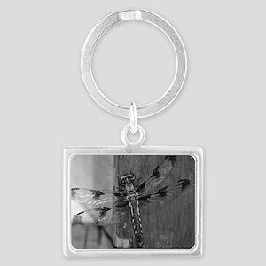 Dragonfly Black & White Landscape Keychain