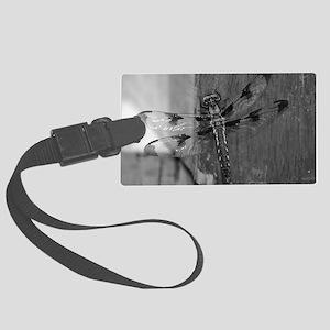 Dragonfly Black & White Large Luggage Tag