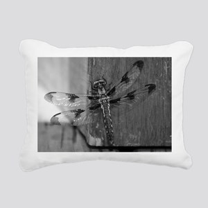 Dragonfly Black & White Rectangular Canvas Pillow
