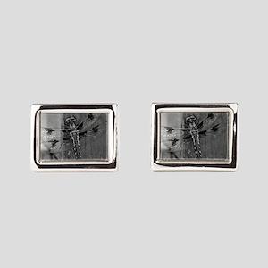 Dragonfly Black & White Rectangular Cufflinks