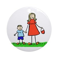 Mother and Son (Blond) Ornament (Round)