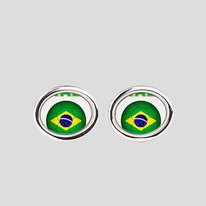 Brazil Soccer 2014 Oval Cufflinks