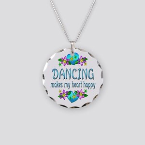 Dancing Heart Happy Necklace Circle Charm