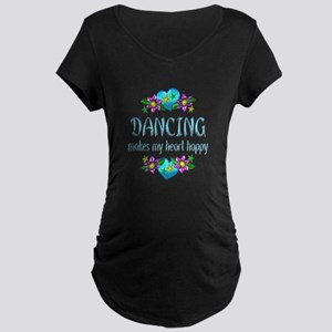 Dancing Heart Happy Maternity Dark T-Shirt