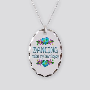 Dancing Heart Happy Necklace Oval Charm