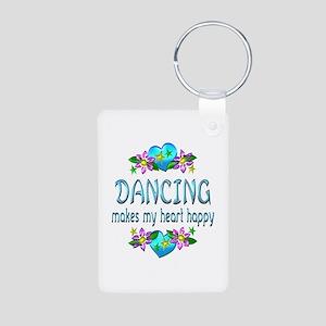 Dancing Heart Happy Aluminum Photo Keychain