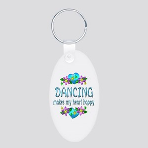 Dancing Heart Happy Aluminum Oval Keychain
