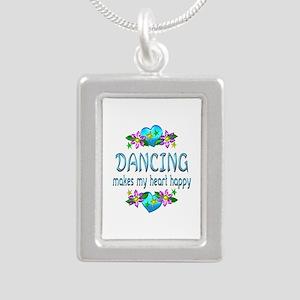 Dancing Heart Happy Silver Portrait Necklace