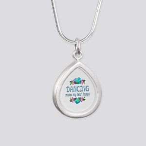Dancing Heart Happy Silver Teardrop Necklace