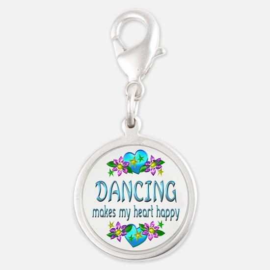 Dancing Heart Happy Silver Round Charm