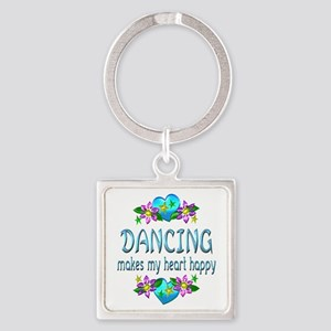 Dancing Heart Happy Square Keychain