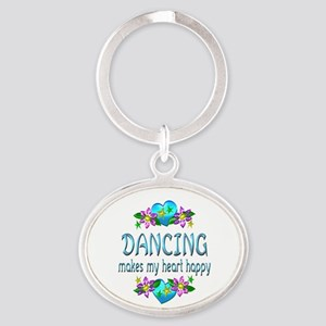 Dancing Heart Happy Oval Keychain