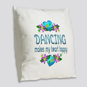 Dancing Heart Happy Burlap Throw Pillow