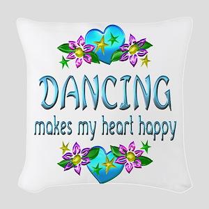 Dancing Heart Happy Woven Throw Pillow