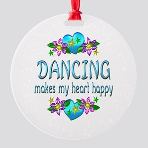 Dancing Heart Happy Round Ornament