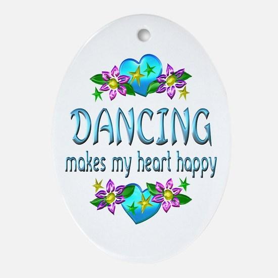 Dancing Heart Happy Ornament (Oval)