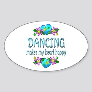Dancing Heart Happy Sticker (Oval)