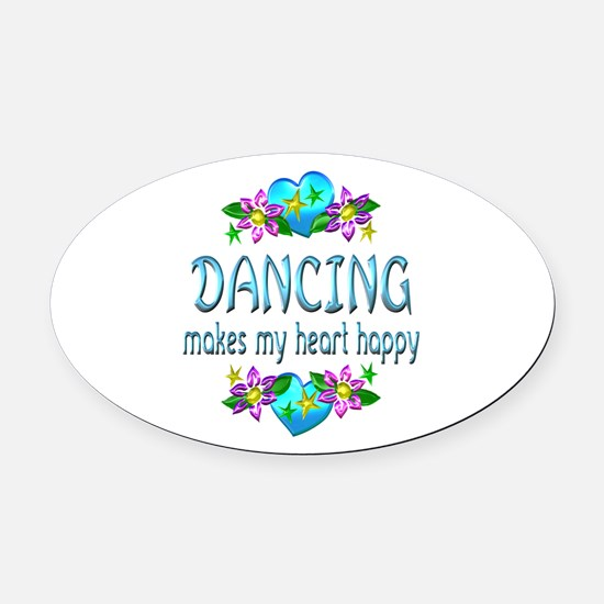 Dancing Heart Happy Oval Car Magnet