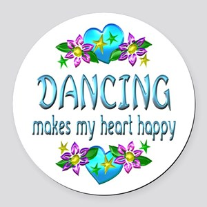 Dancing Heart Happy Round Car Magnet
