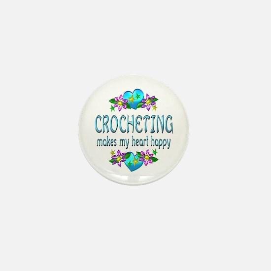 Crocheting Heart Happy Mini Button