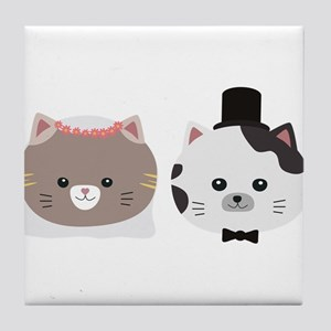 Cat Wedding Couple Cn557 Tile Coaster