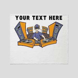 Custom Cartoon DJ Throw Blanket