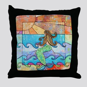 Sunset Mermaid Beach Throw Pillow