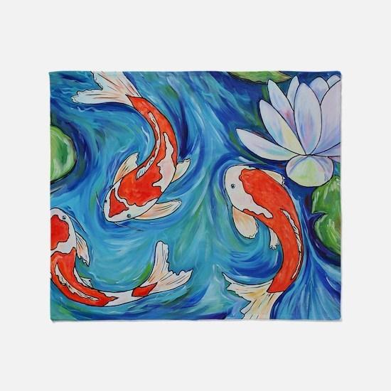 Koi Fish Pond Throw Blanket