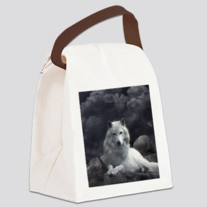 white wolf Canvas Lunch Bag