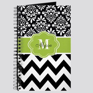 Black Green Chevron Personalized Journal