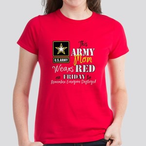Army Mom Wears Red T-Shirt