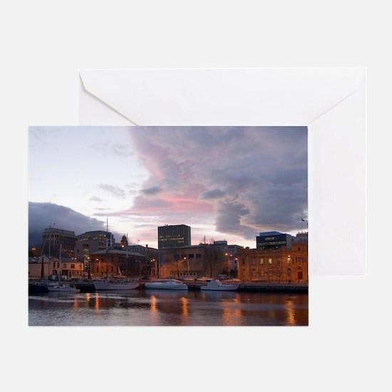 hobart waterfront sunset Greeting Card