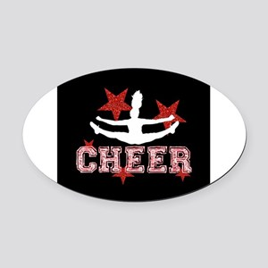 Cheerleader black and red Oval Car Magnet