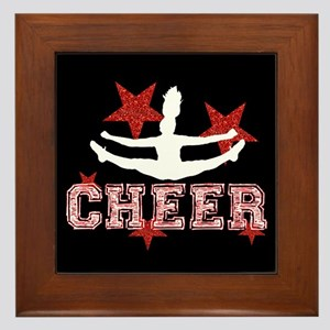 Cheerleader black and red Framed Tile