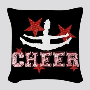 Cheerleader black and red Woven Throw Pillow