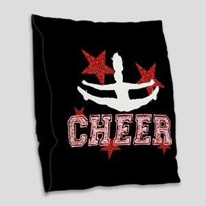 Cheerleader black and red Burlap Throw Pillow
