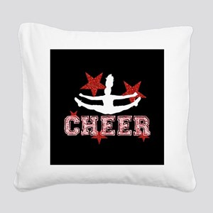 Cheerleader black and red Square Canvas Pillow
