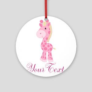 Personalizable Pink Giraffe Ornament (Round)