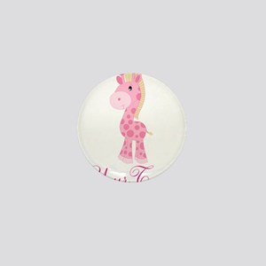 Personalizable Pink Giraffe Mini Button
