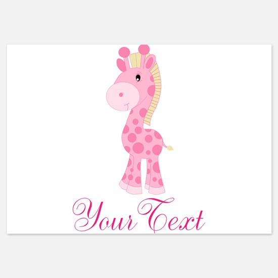 Personalizable Pink Giraffe Invitations