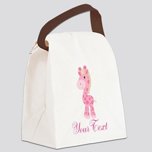 Personalizable Pink Giraffe Canvas Lunch Bag
