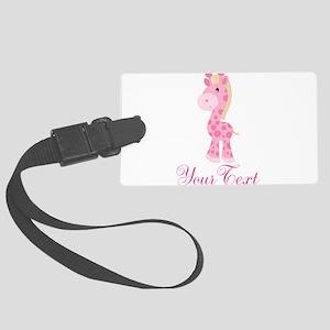 Personalizable Pink Giraffe Luggage Tag